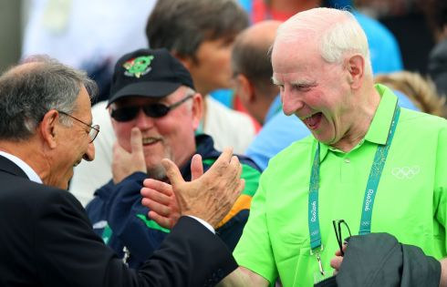 OCI president Pat Hickey celebrates the O'Donovans' silver medal. Photograph: James Crombie/Inpho