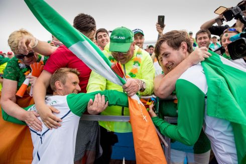 Ireland's Gary and Paul O'Donovan celebrate winning a silver medal with friends and family. Photograph: Morgan Treacy/Inpho