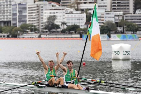 Brothers Gary and Paul O'Donovan celebrate winning Ireland's first ever Olympic medal in rowing. Photograph: Morgan Treacy/Inpho