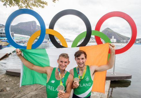 Ireland's Paul and Gary O'Donovan celebrate winning a silver medal. Photograph: James Crombie/Inpho