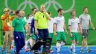The Ireland team dejected, leave the field after losing to Argentina. Photograph: James Crombie/Inpho