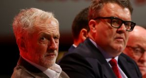 "File photo of Labour party leader Jeremy Corbyn (left) with deputy leader Tom Watson as Corbyn has directly attacked Watson over his claims that ""Trotsky entryists"" are manipulating young party members to boost support for the Labour leader. Photograph: Gareth Fuller/PA"