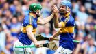Tipperary's John O'Dwyer celebrates his crucial goal against Galway with John McGrath at Croke Park. Photograph: Tommy Dickson/Inpho