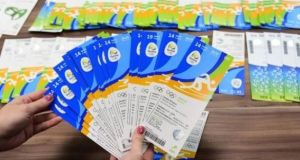 Seized Olympic tickets allegedly are displayed during a press conference. Photograph: Getty Images