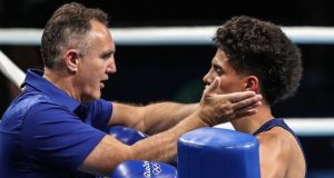 USA coach Billy Walsh with flyweight boxer Antonio Vargas before his round of 32 win over Brazil's Juliao Neto in Rio. Photograph:  Dan Sheridan/Inpho