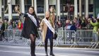 Rose of Tralee contestants march in the St Patrick's Day Parade in New York City.