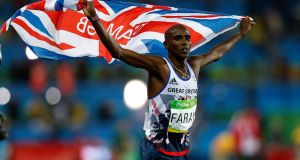 Major success:  Britain's Mo Farah celebrates winning the men's 10,000m final at the Olympic Games in Rio de Janeiro. Photograph:  Owen Humphreys/PA Wire
