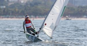 Ireland's Annalise Murphy in action during the medal race of the Laser Radial class in Rio, where she won a silver medal. Photograph:    Martin Rickett/PA Wire