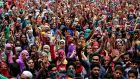 Kashmiri Muslims shout pro-freedom slogans during the funeral of four civilians at Aaripanthan village on Tuesday. The four were killed after Indian police and paramilitary forces opened fire on protesters early in the morning, locals said. Photograph: Farooq Khan/EPA