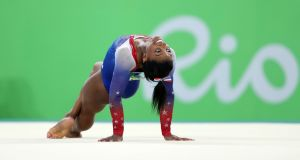 Gold medalist Simone Biles during the Women's Floor Exercise final at the Rio Olympic Arena on Tuesday night. Photograph: David Davies/PA