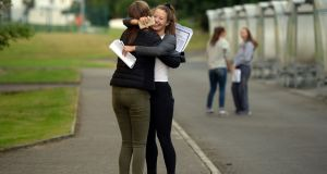 Emma Palmer , and Sadhbh Dalton celebrate getting their exam results, at Muckross Park College , Donnybrook, Dublin. Photograph: Eric Luke