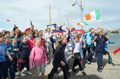 Junior sailors at the National Yacht Club Dun Laoghaire delighted at high scores in earlier races at the London Olympics in 2012. Photograph: Brenda Fitzsimons / THE IRISH TIMES