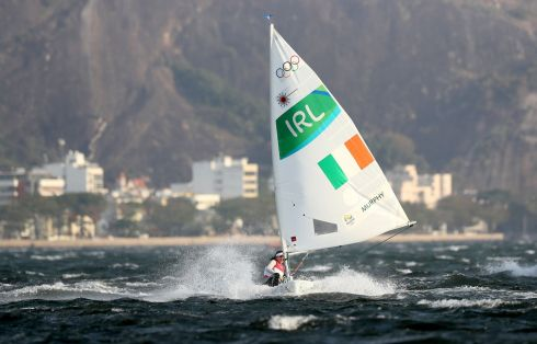 A dream start for Ireland's Annalise Murphy in action during the Laser Radial Women Race 01 held at Marina da Gloria at the Rio Olympics Games, Brazil. The sailor won the first race and placed very well in subsequent races in the series, going into the medal race in 3rd position overall. Photograph: Martin Rickett/PA