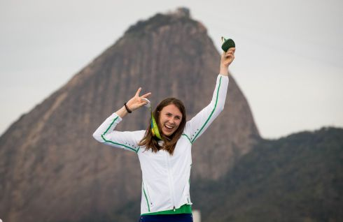 Ireland's Annalise Murphy celebrates winning her silver medal at the prizegiving.   Photograph: Morgan Treacy / INPHO