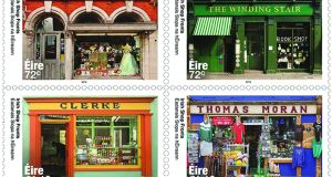The Winding Stair in Dublin and Vibes & Scribes in Cork are on 72 cent stamps while Clerke, a grocer in Skibbereen and Thomas Moran, a hardware and faming shop in Westport, Co Mayo feature on the €1.10 stamp.