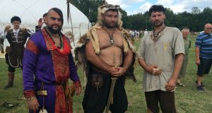 Petar Vladov (left) and fellow Bulgarians at Hungary's Kurultaj festival of ancient Turkic cultures and traditions. Photograph: Daniel McLaughlin