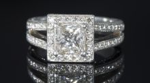 "Lot 256 is ""a princess cut diamond art deco-inspired ring, set at centre and surrounded by a halo of round brilliant cut diamonds mounted in platinum"", estimated at €3,000-€4,000 and described as ""a similar, smaller version of Pippa Middleton's art-deco inspired ring"
