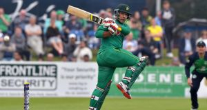 Pakistan's Sharjeel Khan pulls the ball during his innings of 152 in the first KPc Group One-Day international series at Malahide. Photograph:  Rowland White/Inpho/Presseye