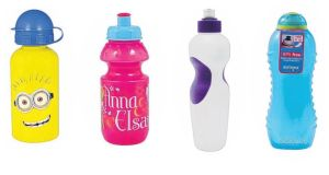From left, Minions Water Bottle; Frozen Sports Bottle; Mega Value Super Grip; Sistema Twist 'n' Sip