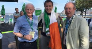 Happier times: Olympic Council of Ireland president Pat Hickey, Olympic silver medal winner Annalise Murphy, and Minister for Sport Shane Ross last Tuesday. The following morning Hickey was arrested by Brazilian police.