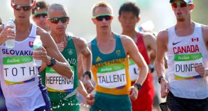 Rob Heffernan in action during the 50km walk. Photograph: James Crombie/Inpho