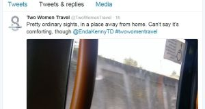 A tweet from the @twowomentravel account, which is documenting a woman's journey to the UK to have an abortion. Photograph: Screenshot/@twotwomentravel/Twitter
