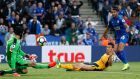 Arsenal goalkeeper  Petr Cech saves from Leicester City's Riyad Mahrez during the Premier League game at the King Power Stadium. Photograph: John Sibley/Action Images via Reuters/Livepic