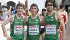 Ireland's team for the men's marathon - Paul Pollock, Kevin Seaward and Mick Clohisey. Photograph: Inpho