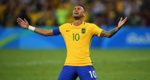 Brazil captain Neymar after scoring the   the winning penalty in the shoot-out of the Olympic football final against Germany   at the Maracana Stadium in Rio. (Photograph: Laurence Griffiths/Getty Images