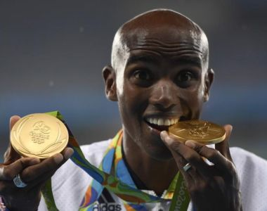Britain's Mo Farah completed a double-double after he added the 5,000m gold to his 10,000m success in Rio. Photograph: Afp