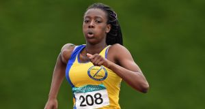 Gina Akpe-Moses of Blackrock AC on her way to winning the U-16 200m GloHealth Juvenile Track and Field Championships, Tullamore Harriers AC, Tullamore, Co Offaly, July 2014. File photograph: Matt Browne/Sportsfile