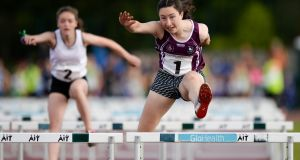 Aoibhe Deely from Co Galway in the Girls U14 80m Hurdles at the weekend. Photograph: Seb Daly/Sportsfile