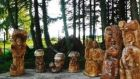 Jonas Raiskas was commissioned  to create 20 carvings in the Garden of the Celtic Saints plus those in the new Memorial Garden in Irvinestown.