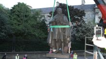 A statue of Sir Thomas Moore being moved in Dublin city centre in May 2014. It is to be reinstated later this year.  File photograph: Donncha Ó Dúlaing/TII