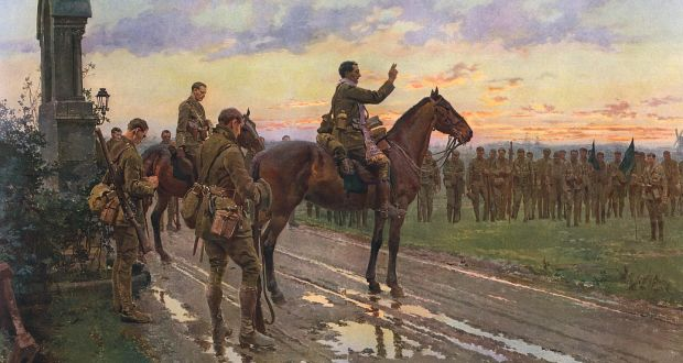 The Last General Absolution of the Munsters at Rue du Bois; painting by Fortunio Matania depicting an incident in France in May  1915, when the 2nd Battalion of the Royal Munster Fusiliers suffered very heavily at Rue du Bois, in the Pas de Calais. Photograph: Illustrated London News Ltd/Mary Evans