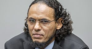 Ahmad al-Faqi al-Mahdi – also known as Abu Tourab –  at the International Criminal Court in The Hague on Monday.  He expressed his deep regret to the people of Timbuktu and Mali. Photograph: Patrick Post/EPA
