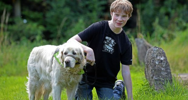 Luke Kelly Melia and his assistance dog, a golden retriever called Aidan, at home at Oldcastle, Co. Meath. Photograph: Eric Luke/The Irish Times