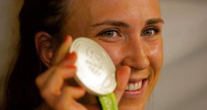 HOME SAILING: Olympic Silver medal winner in the women's laser radial event, Annalise Murphy, on her return to Dublin from the Rio 2016 Olympic Games. Photograph: Eric Luke/The Irish Times