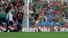 Jason Doherty celebrates his goal against Tipperary. Mayo's players will have four weeks to prepare for the All-Ireland final after all senior club fixtures were postponed. Photograph: Inpho