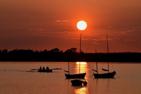 Malahide Sea Scouts rowing an east coast skiff as the sun sets over the inner estuary in Malahide. Photograph: Gerry Hickey Best of Summerpix 16
