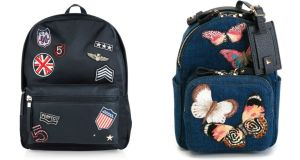 Left, New Look backpack for €29.99; Right, Embroidered backpack for €1,750 from Valentino at farfetch.com