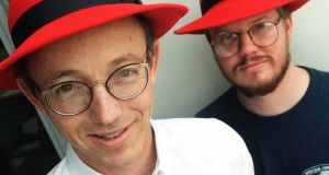 Co-founders of Red Hat Robert Young (left)  and Marc Ewing in  1998. Photograph: Candice C  Cusic/AP