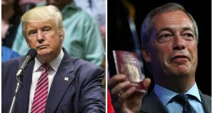 Nigel Farage (right), former leader of the UK Independence Party,  has said that he will speak at a rally for US Republican presidential candidate  Donald Trump in Mississippi on Wednesday night. Photographs: AFP/Getty Images.