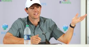 Rory McIlroy speaks to the media ahead of  The Barclays on the Black Course at Bethpage State Park in New York. Photograph: David Cannon/Getty Images