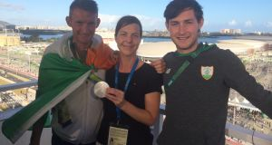 Cliona O'Leary with rowing silver medalists Gary and Paul O'Donovan from Skibbereen.