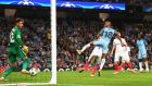 Fabian Delph of Manchester City scores  in the  Champions League playoff second leg match against Steaua Bucharest at Etihad Stadium. Photograph: Michael Regan/Getty Images