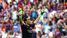 Manchester City have signed Chile goalkeeper Claudio Bravo from Barcelona on a four-year deal. Photograph: Toni Albir/EPA