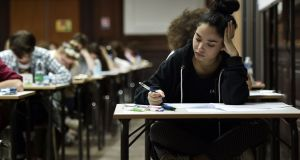 High school students take the philosophy exam as part of  the 2016 baccalaureate at the Fustel de Coulanges high school in Strasbourg, eastern France. Photograph: Getty Images