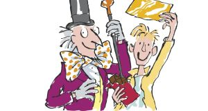 Charlie with his golden ticket in 'Charlie and the Chocolate Factory'. Illustration: © Quentin Blake 2016