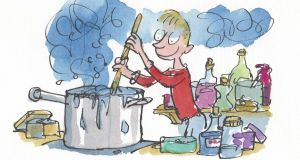 George cooks up a storm in 'George's Marvellous Medicine'. Illustration: © Quentin Blake 2016